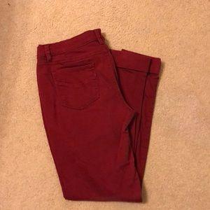 Red skinny pants